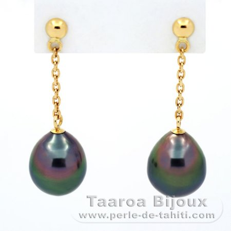 18K solid Gold Earrings and 2 Tahitian Pearls Semi-Baroque B 8.1 mm