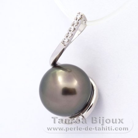 Rhodiated Sterling Silver Pendant and 1 Tahitian Pearl Round C 9.9 mm