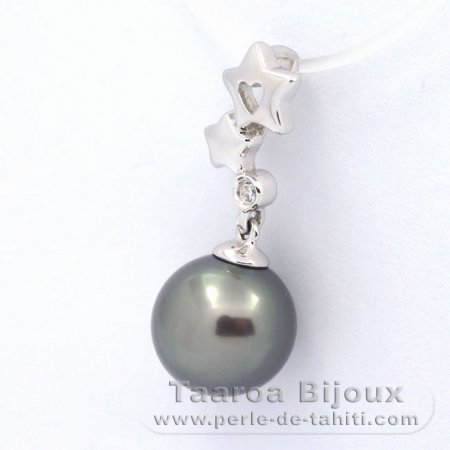 .925 Solid Silver Pendant and 1 Tahitian Pearl Round C 9.3 mm