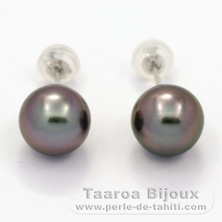 18K Solid White Gold Earrings and 2 Tahitian Pearls Round B 8.7 mm