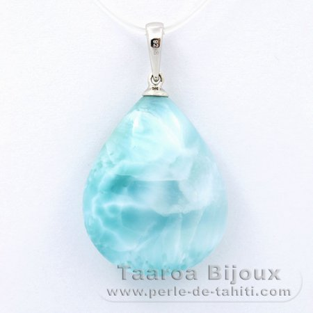 Rhodiated Sterling Silver Pendant and 1 Larimar - 24 x 19 x 8.4 mm - 5.62 gr