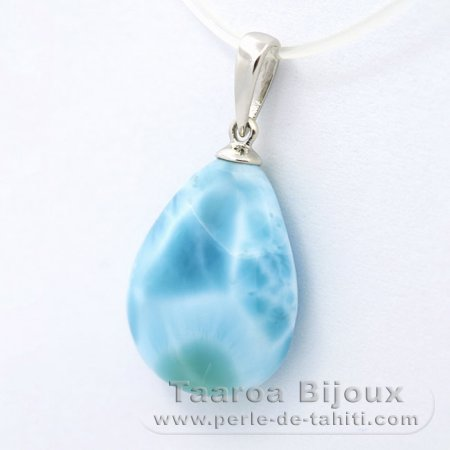 Rhodiated Sterling Silver Pendant and 1 Larimar - 18 x 14.3 x 5.3 mm - 2.2 gr