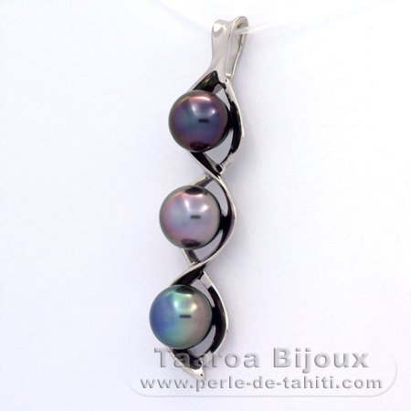 .925 Solid Silver Pendant and 3 Tahitian Pearls Semi-Baroque B  9 to 9.4 mm