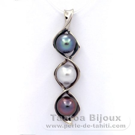 Rhodiated Sterling Silver Pendant and 3 Tahitian Pearls Semi-Baroque B+  8.9 to 9 mm