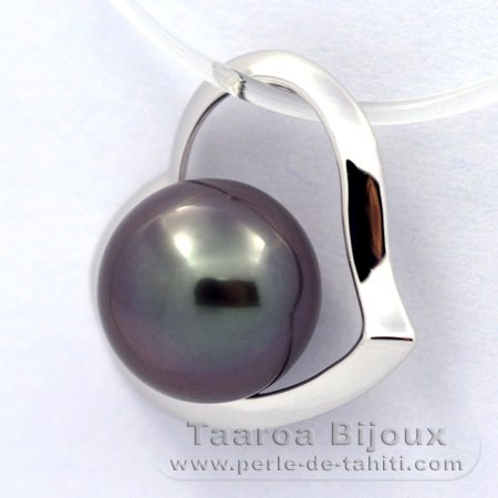 18K Solid White Gold Pendant and 1 Tahitian Pearl Round A 8.2 mm