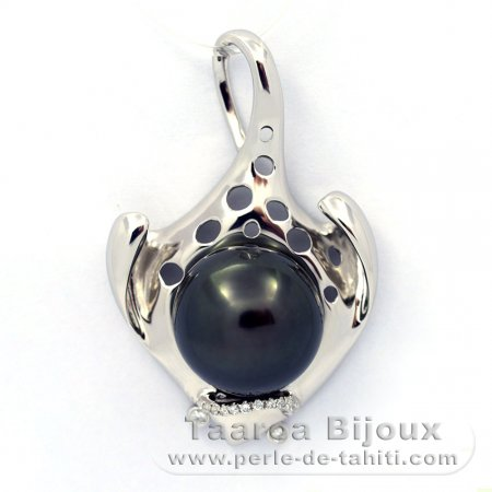 Rhodiated Sterling Silver Pendant and 1 Tahitian Pearl Near-Round C 13 mm
