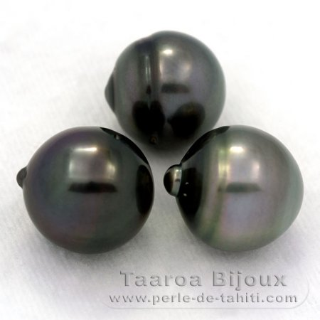 Lot of 3 Tahitian Pearls Ringed C from 12.4 to 12.7 mm