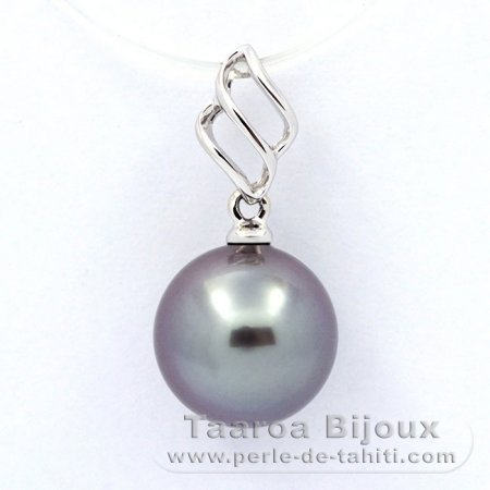 18K Solid White Gold Pendant and 1 Tahitian Pearl Round A 9.4 mm