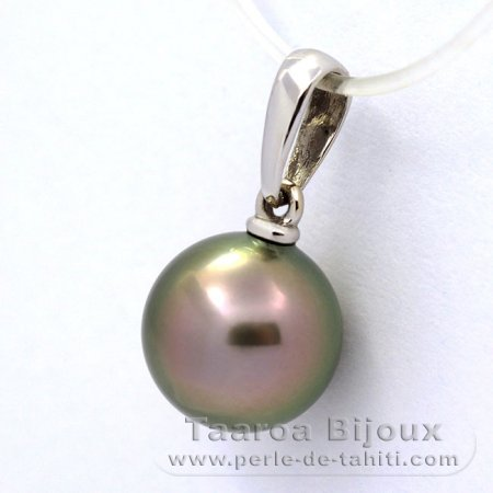 18K Solid White Gold Pendant and 1 Tahitian Pearl Round B 9.3 mm