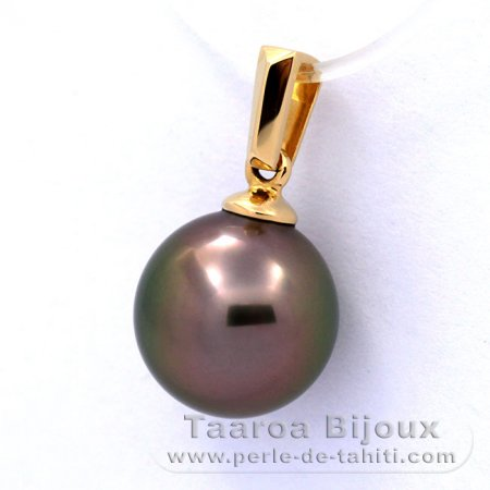 18K solid Gold Pendant and 1 Tahitian Pearl Round A 9.1 mm