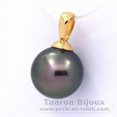 18K solid Gold Pendant and 1 Tahitian Pearl Round A 9.3 mm