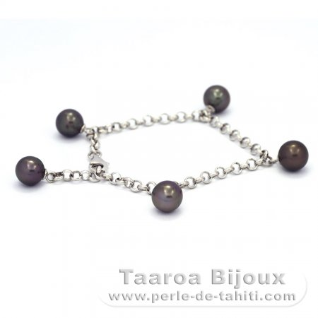 .925 Solid Silver Bracelet and 5 Tahitian Pearls Round C  7.8 to 8.4 mm