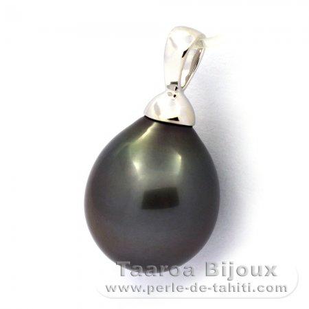 18K Solid White Gold Pendant and 1 Tahitian Pearl Semi-Baroque A 11.7 mm