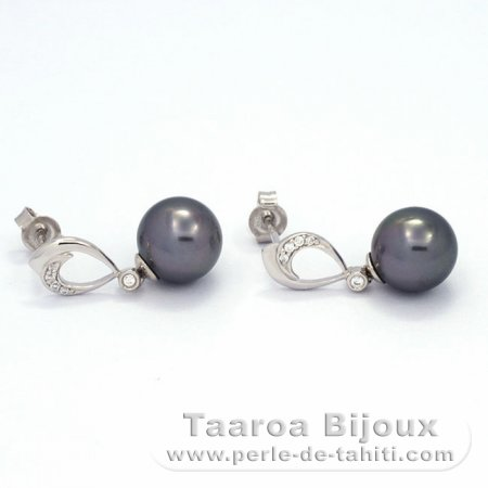 .925 Solid Silver Earrings and 2 Tahitian Pearls Round C 9.2 and 9.3 mm