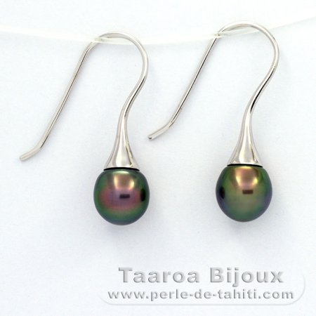 .925 Solid Silver Earrings and 2 Tahitian Pearls Semi-Baroque A 9.3 mm