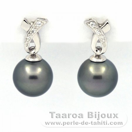 .925 Solid Silver Earrings and 2 Tahitian Pearls Round C 9 and 9.1 mm