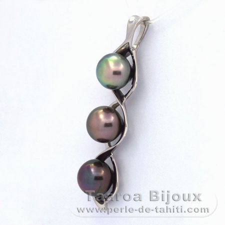 .925 Solid Silver Pendant and 3 Tahitian Pearls Semi-Baroque C  9.6 to 9.8 mm