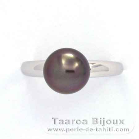 Rhodiated Sterling Silver Ring and 1 Tahitian Pearl Round B 8.7 mm