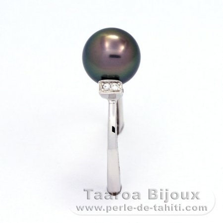 .925 Solid Silver + Rhodium Ring and 1 Tahitian Pearl Round B 8.5 mm