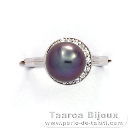 .925 Solid Silver + Rhodium Ring and 1 Tahitian Pearl Round B+ 9 mm