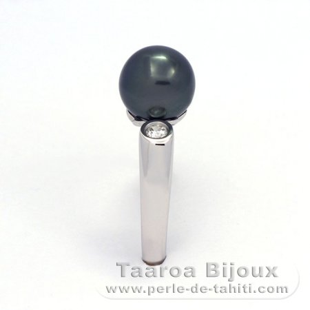 .925 Solid Silver + Rhodium Ring and 1 Tahitian Pearl Round C 9.1 mm