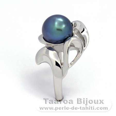 .925 Solid Silver + Rhodium Ring and 1 Tahitian Pearl Round C+ 9.3 mm