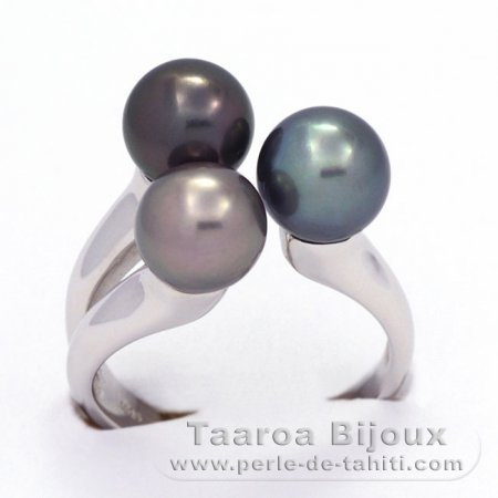 .925 Solid Silver + Rhodium Ring and 3 Tahitian Pearls Round C from 8 to 8.1 mm