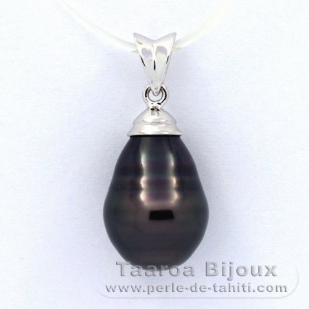 .925 Solid Silver Pendant and 1 Tahitian Pearl Ringed C 10.4 mm