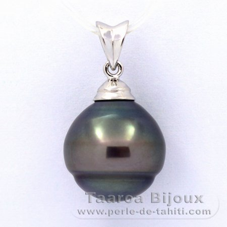 Rhodiated Sterling Silver Pendant and 1 Tahitian Pearl Ringed B 13.1 mm