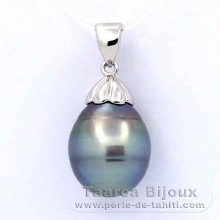 .925 Solid Silver Pendant and 1 Tahitian Pearl Ringed C 12.3 mm