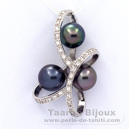 .925 Solid Silver Pendant and 3 Tahitian Pearls Round C+  8.3 to 8.6 mm