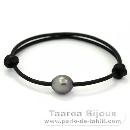 Leather Bracelet and 1 Tahitian Pearl Semi-Baroque A 10 mm