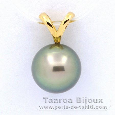 18K solid Gold Pendant and 1 Tahitian Pearl Round A 9.5 mm