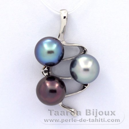 Rhodiated Sterling Silver Pendant and 3 Tahitian Pearls Semi-Baroque C+  9.5 to 9.8 mm