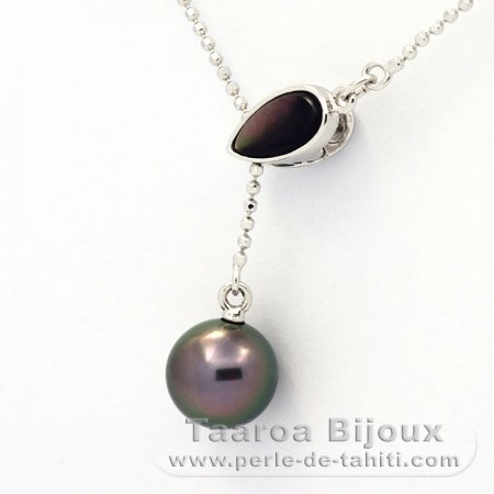 Rhodiated Sterling Silver Necklace and 1 Tahitian Pearl Round B 9.3 mm