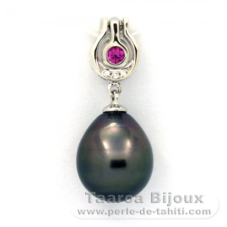 Rhodiated Sterling Silver Pendant and 1 Tahitian Pearl Semi-Baroque C 10.8 mm