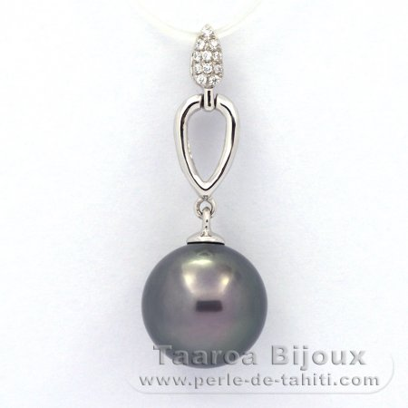 Rhodiated Sterling Silver Pendant and 1 Tahitian Pearl Round C 11.2 mm