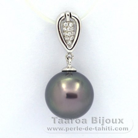 .925 Solid Silver Pendant and 1 Tahitian Pearl Round C 11.2 mm