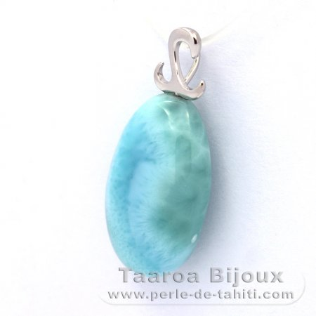 Rhodiated Sterling Silver Pendant and 1 Larimar - 21 x 12.9 x 8 mm - 3.6 gr