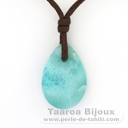 Waxed cotton Necklace and 1 Larimar - 18 x 12 x 5 mm - 2.2 gr