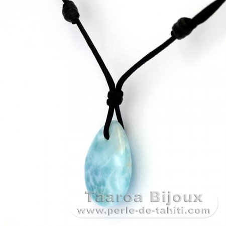 Cotton Necklace and 1 Larimar - 20 x 16 x 5.8 mm - 3.1 gr