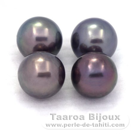 Lot of 4 Tahitian Pearls Round D from 9 to 9.1 mm
