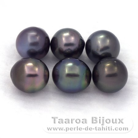 Lot of 6 Tahitian Pearls Semi-Baroque D from 8.6 to 8.9 mm