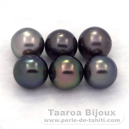 Lot of 6 Tahitian Pearls Round D from 8.1 to 8.4 mm