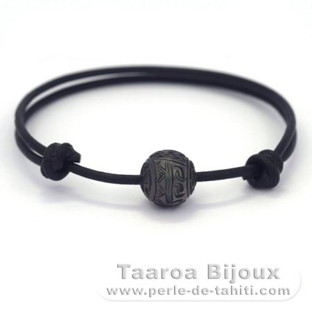 Leather Bracelet and 1 Engraved Tahitian Pearl 11.1 mm