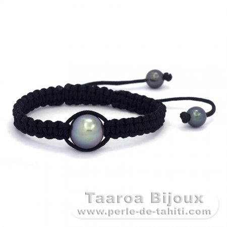 Nylon Bracelet and 1 Tahitian Pearl Near-Round C 12.2 mm + 2 Near-Round C/D 7.5 mm