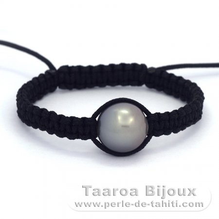Nylon Bracelet and 1 Tahitian Pearl Semi-Baroque C 13.3 mm