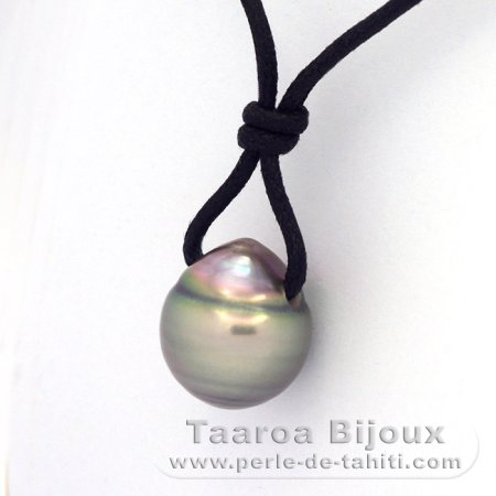 Waxed Cotton Necklace and 1 Tahitian Pearl Ringed C 13.6 mm