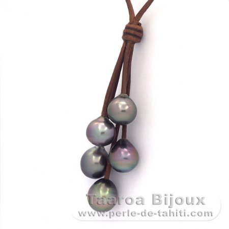 Leather Necklace and 5 Tahitian Pearls Semi-Baroque B/C  10 to 10.3 mm