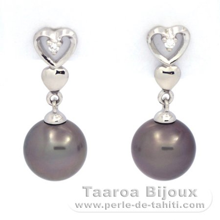 Rhodiated Sterling Silver Earrings And 2 Tahitian Pearls Round C 8 1 Mm